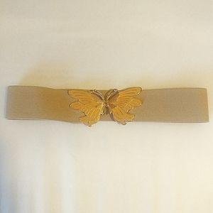 Accessories - Vintage Tan Butterfly Enamel Ladies Belt Stretch